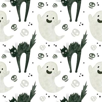 Halloweenowy bezszwowy wzór z uroczymi duchowymi czaszkami przestraszonego czarnego kota upiorny cyfrowy papier