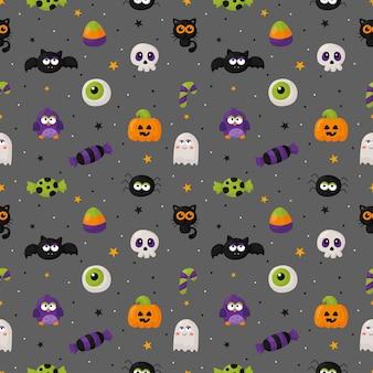 Halloweenowy bezszwowy wzór z zabawnym upiornym na szarym tle