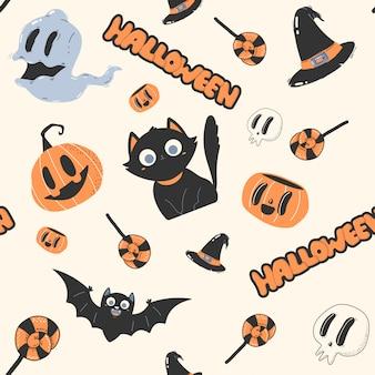 Halloweenowy bezszwowy wzór.