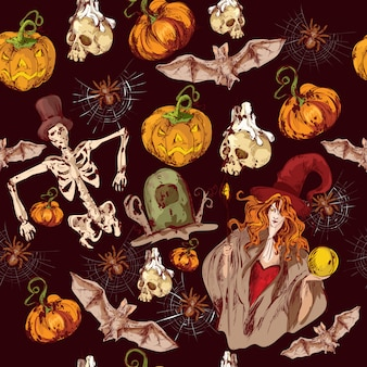 Halloweenowy bezszwowy wzór