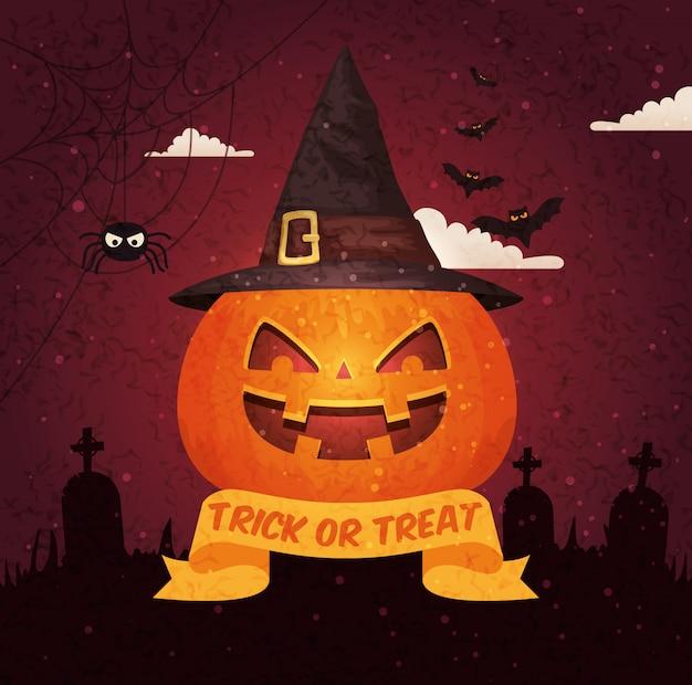 Halloweenowy billboard nad cmentarzem