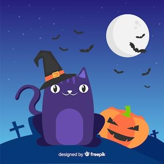 Halloweenowy blac kot z płaskim projektem