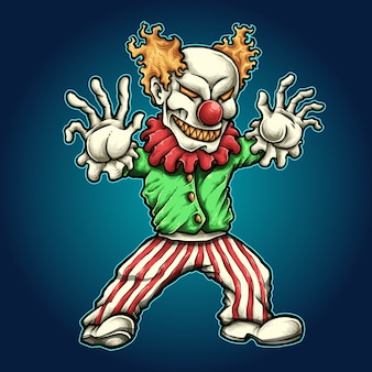 Halloweenowy charakter horroru zła klauna