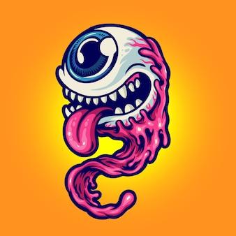 Halloweenowy charakter jedno oko potwór