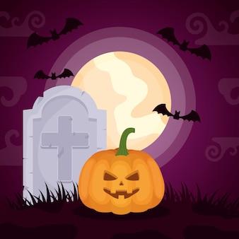Halloweenowy ciemny cmentarz z banią