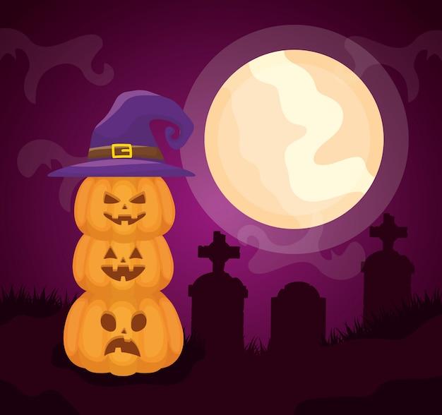 Halloweenowy ciemny cmentarz z dyniami