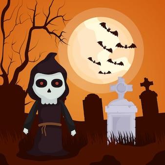 Halloweenowy ciemny cmentarz z postacią śmierci