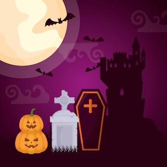 Halloweenowy ciemny cmentarz z trumną