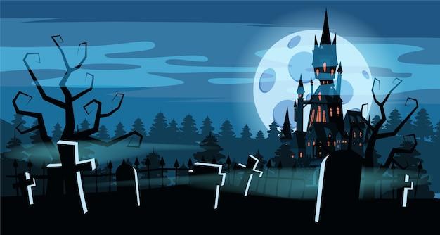 Halloweenowy cmentarz, czarny opuszczony zamek.