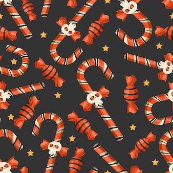 Halloweenowy cukierek bezszwowy wzór.