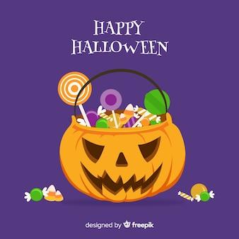 Halloweenowy cukierek torby tła projekt