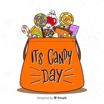 Halloweenowy cukierek torby tło