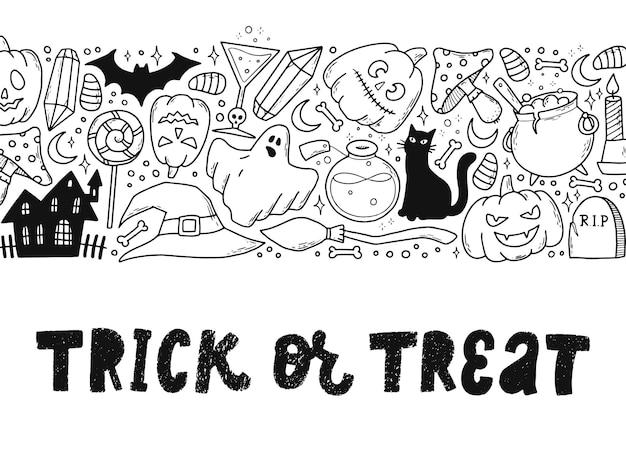 Halloweenowy cytat ozdobiony gryzmołami