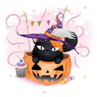 Halloweenowy czarny kot w bani
