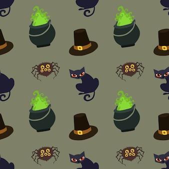 Halloweenowy deseniowy garnek magiczny mieszkanie styl