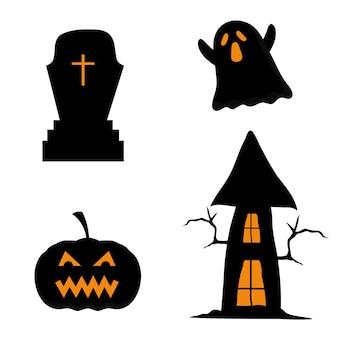 Halloweenowy dom dyni grób i projekt ducha, motyw halloween.