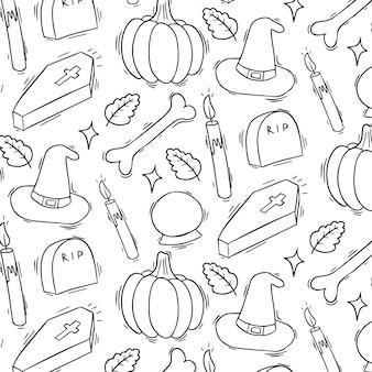Halloweenowy doodle bezszwowy wzór