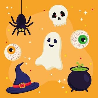 Halloweenowy duch kapelusz czaszka oczy pająk i projekt miski czarownicy, motyw halloween.