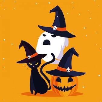 Halloweenowy duch kota i dyni
