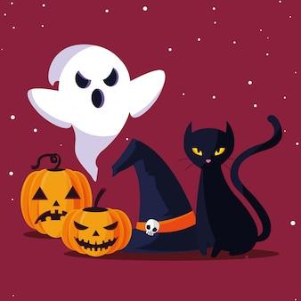 Halloweenowy duch kota i dynie