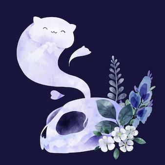 Halloweenowy duch kota z czaszką i kwiatami