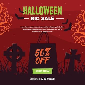 Halloweenowy duży sprzedaż cmentarza tło