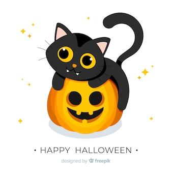 Halloweenowy dziecko kota tło