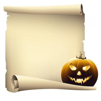 Halloweenowy dzień pergaminowy papier z copyspace, wektorowy rysunek