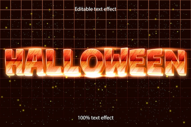 Halloweenowy edytowalny efekt tekstowy retro w nowoczesnym stylu