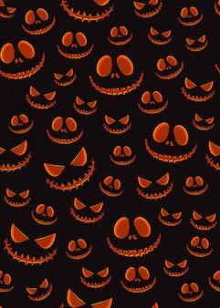 Halloweenowy horror dyniowy jack-o latarniowy bezszwowy wzór