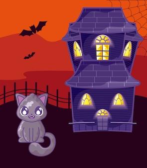 Halloweenowy horroru dom na halloween scenie