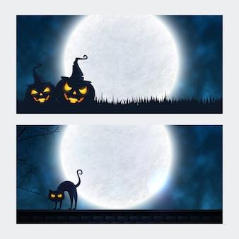 Halloweenowy ilustracyjny panoramiczny dla sztandaru tła