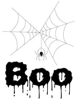 Halloweenowy kartka z pozdrowieniami z pająkiem. styl kreskówkowy. ilustracji wektorowych.
