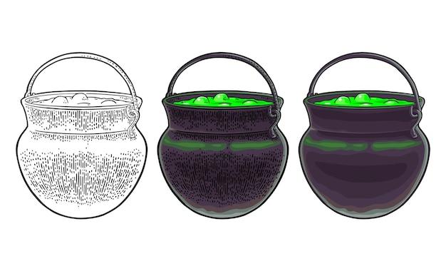 Halloweenowy kocioł magiczny garnek z bąbelkami wektor kolor vintage grawerowanie i płaska ilustracja