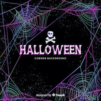 Halloweenowy kolorowy pajęczyny tło