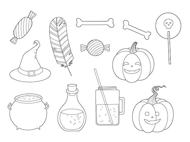 Halloweenowy kontur czarownicy, upiornej dyni, trucizny, cukierków, kości i konturu konturu. grafika liniowa stempel cyfrowy i kolorowanki