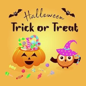 Halloweenowy kosz dyniowy pełen cukierków i słodyczy oraz sowa w magicznym kapeluszu