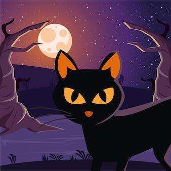 Halloweenowy kot czarny w pełni księżyca na scenie nocy