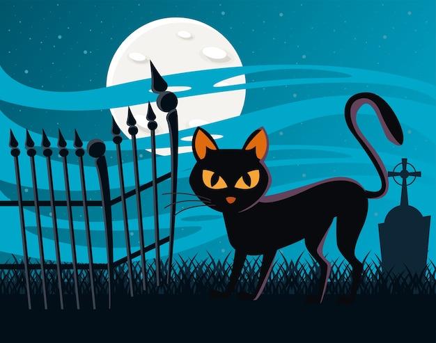 Halloweenowy kot czarny z pełnią księżyca w scenie nocy