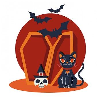Halloweenowy kot maskował scenę charakteru