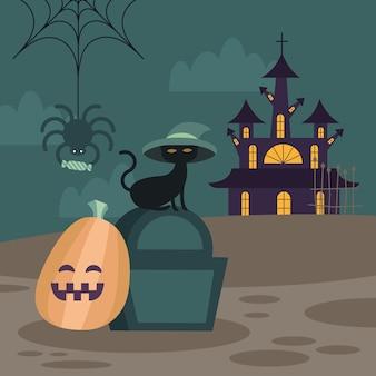 Halloweenowy kot na projekt grobu i dyni, przerażający motyw