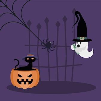 Halloweenowy kot na wzór dyni i ducha, przerażający motyw