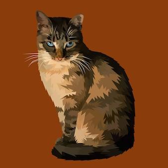 Halloweenowy Kot Siedzi I Patrzeje Premium Wektorów