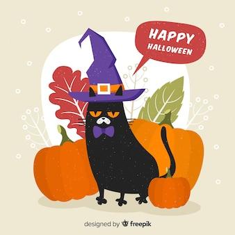 Halloweenowy kot tło w płaskim projekcie