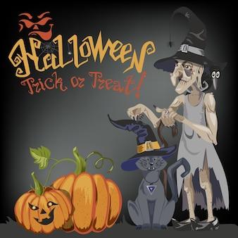 Halloweenowy kot w czarownica kapeluszu