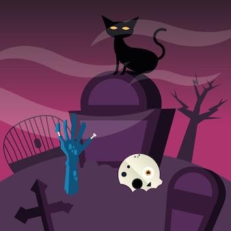 Halloweenowy kot w projekcie cmentarza, przerażający motyw