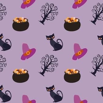 Halloweenowy kot wzoru tło