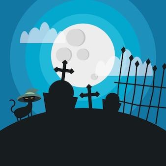 Halloweenowy kot z kapeluszem na cmentarzu, wakacje i straszna ilustracja