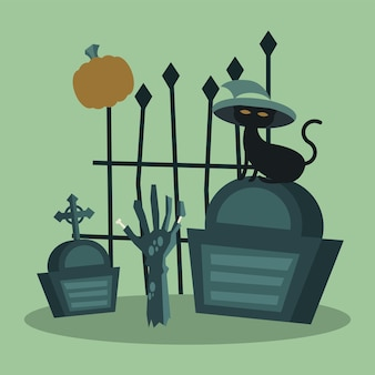 Halloweenowy kot z kapeluszem na grobowej bramie i projekt dłoni zombie, przerażający motyw
