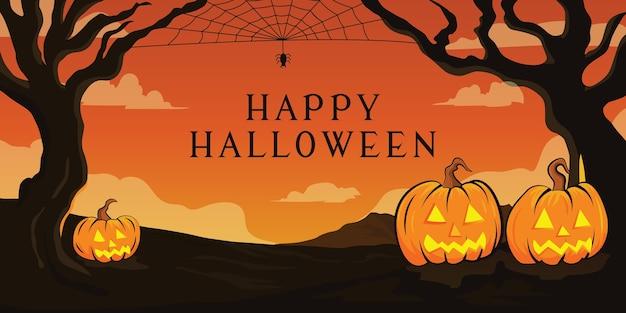 Halloweenowy krajobraz tło z drzewa